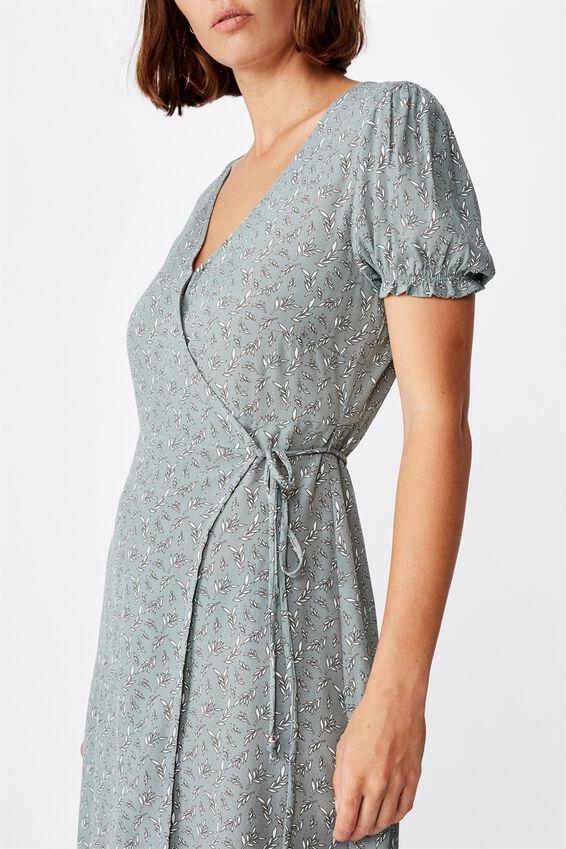 Woven Amy Wrap Mini Dress, JENNY LEAF CHINOIS GREEN