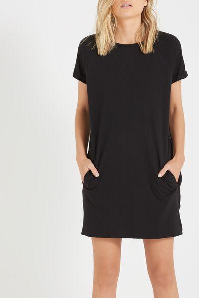 Tina Pocket T-Shirt Dress, BLACK