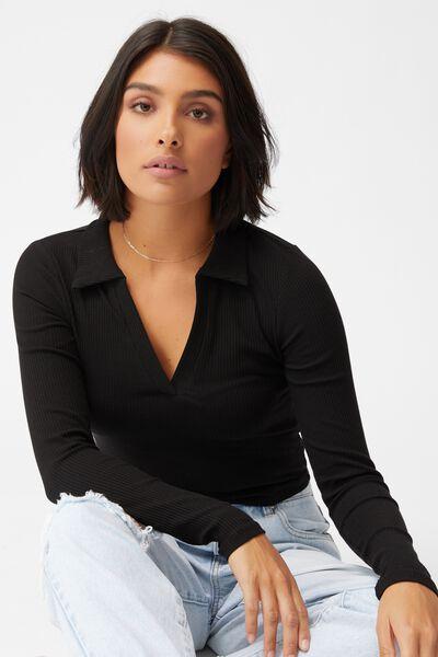 Zoe Polo Long Sleeve Top, BLACK