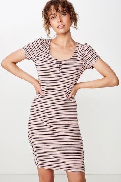 Gabby Short Sleeve Mini Dress, ABI STRIPE CLOUD GREY RIB