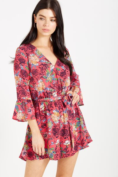 Woven Fleur Long Sleeve Playsuit, JADED FLORAL TEABERRY