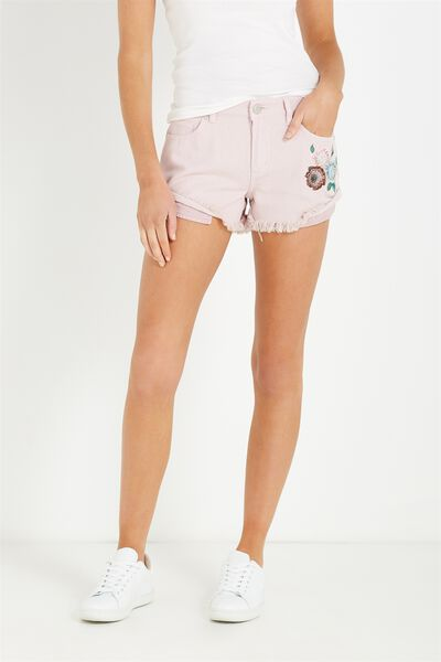 Mid Rise Saturday Denim Short, FLOWER EMBROIDERY PINK