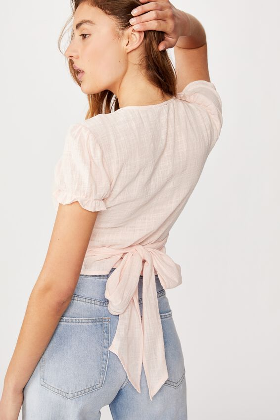 Prairie S/S Wrap Blouse, ICY FROZE