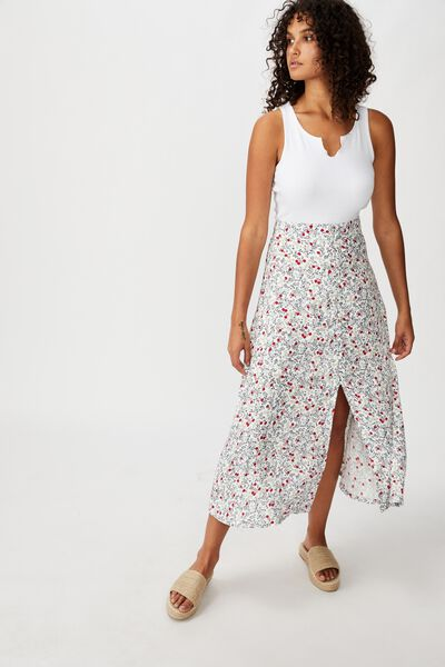 Summer Button Midi Skirt, BOBBY FLORAL PAISLEY TOTAL ECLIPSE