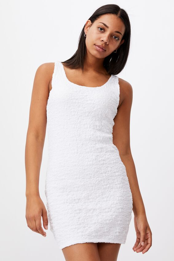 River Textured Mini Dress, WHITE