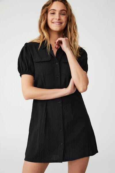 Woven Petite Iggy Shirt Dress, BLACK