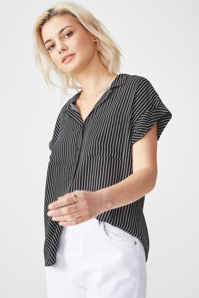 Emily Short Sleeve Shirt, WHIT STRIPE BLACK/WHITE