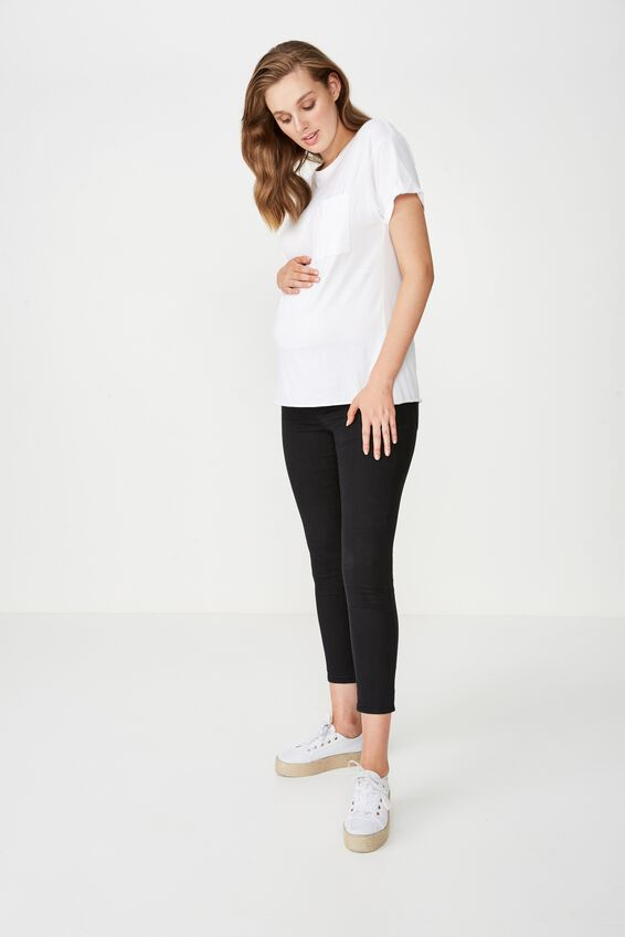 Mid Rise Maternity Jegging, BLACK