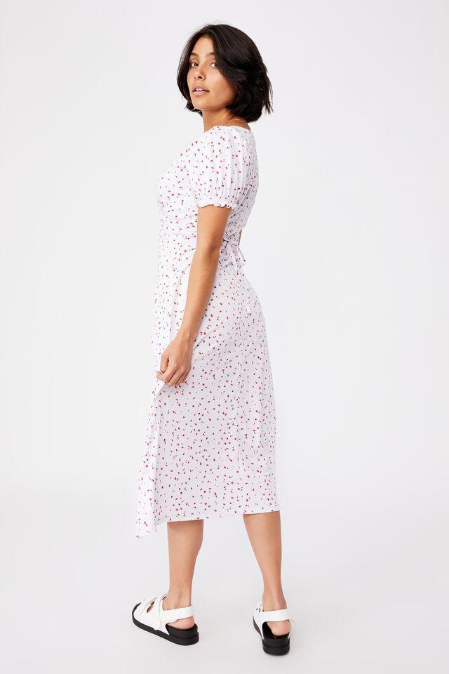 Elina Short Sleeve Midi Dress, BELLA DITSY WHITE