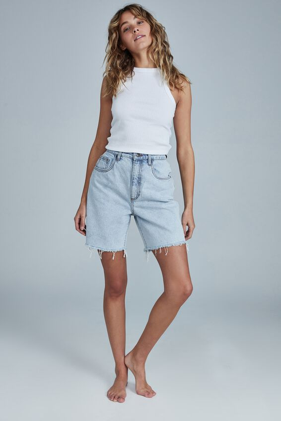 Straight Denim Bermuda Short, HENLEY BLUE