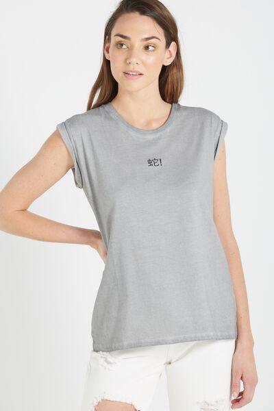 Tbar Fox Roll Sleeve Graphic T Shirt, SERPENT/ICE GREY
