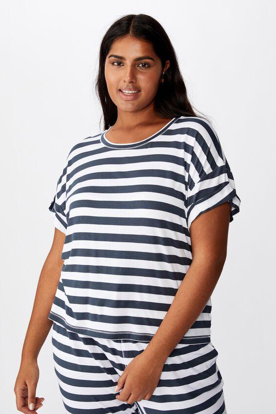 Curve Sleep Recovery Hip Grazer T-Shirt, THICK STRIPE/IRON