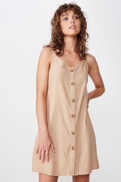 Woven Margot Slip Dress, BUTTON THROUGH BRUSH