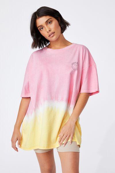 Oversized Graphic T Shirt Dress, LCN SMI SMILE MORE TIE DYE/WILD LILAC/LEMONAD