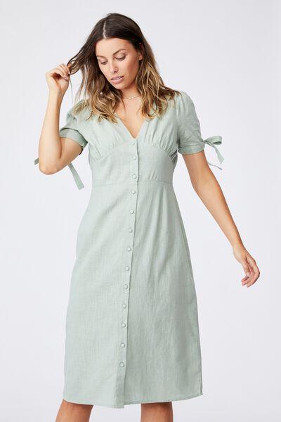 Woven Chantelle Button Through V Neck Midi Dress, LUSH GREEN