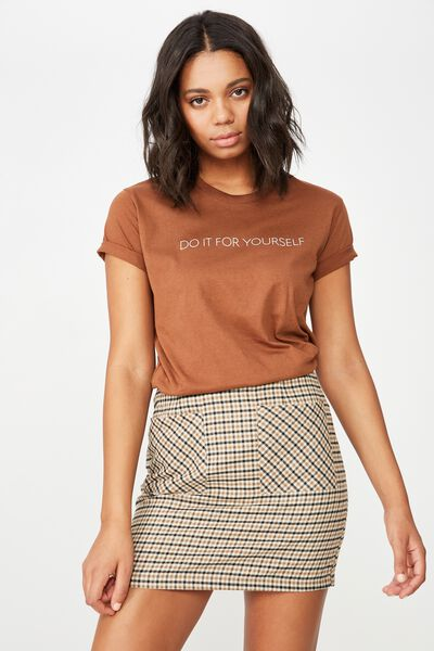 Classic Slogan T Shirt, DO IT FOR YOURSELF/TEDDY BEAR BROWN