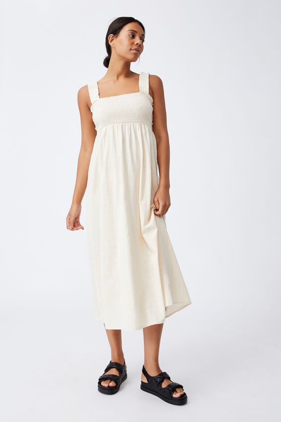 Woven Thea Strappy Open Back Midi Dress, BARLEY