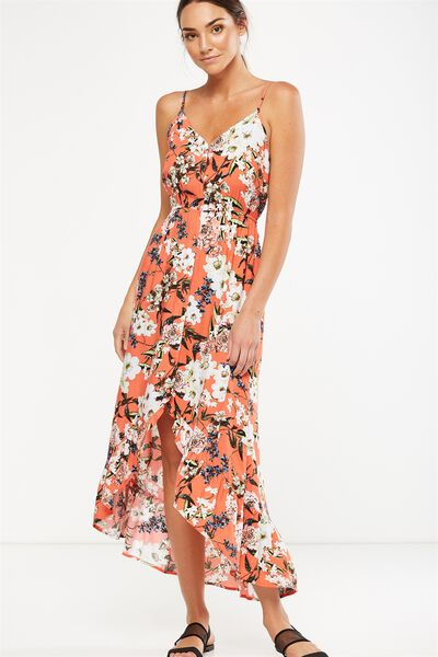 Woven Katrina Button Through Hi Low Maxi Dress, DANI FLORAL EMBERGLOW