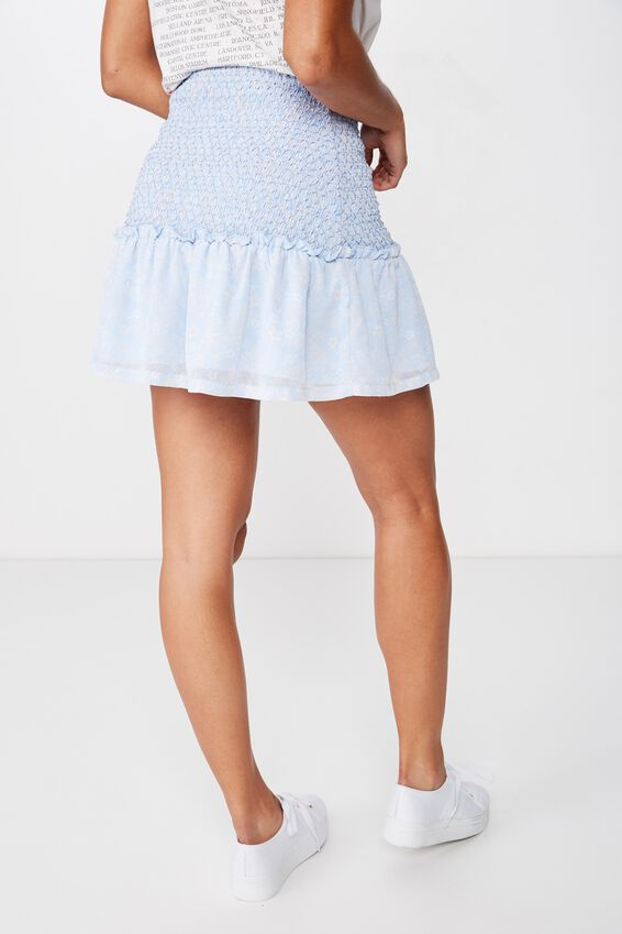 Woven Serena Shirred Waist Mini Skirt, JESSICA FLORAL PAISLEY SKYWAY