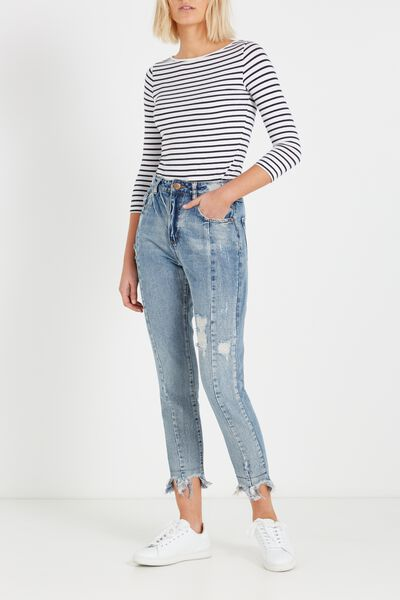 High Rise Relaxed 90S Jean, MOM JEAN REMIX VINTAGE BLUE