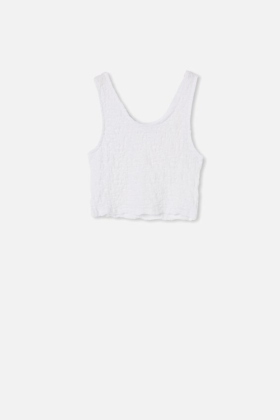 River Textured Tank Top, WHITE