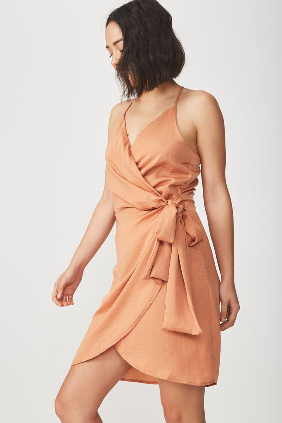Woven Satin Strappy Wrap Midi Dress, SAHARA