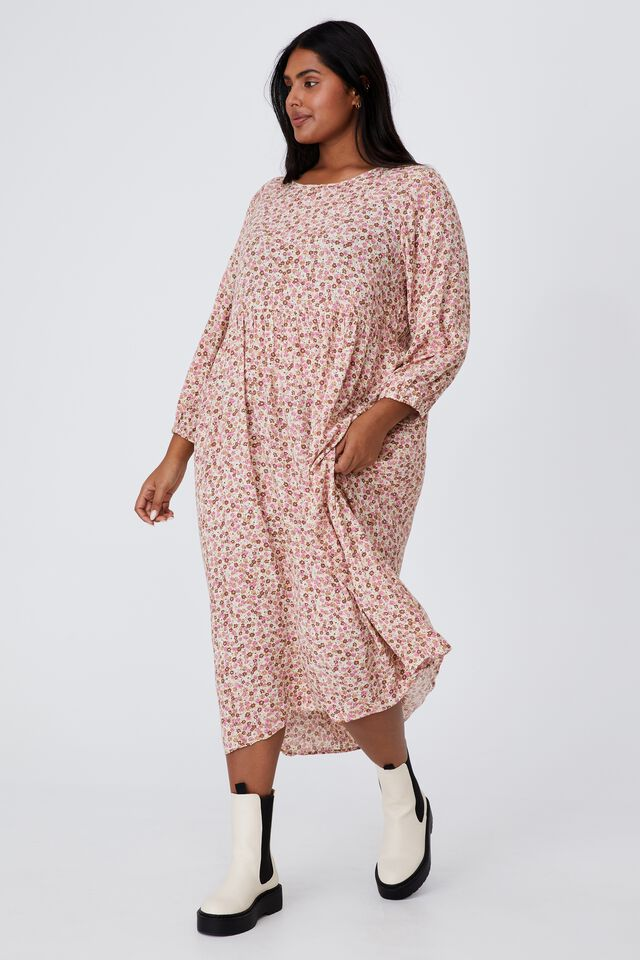 Curve Good Times Babydoll 3/4 Sleeve Maxi Dress, KENDELLE DITSY BARLEY