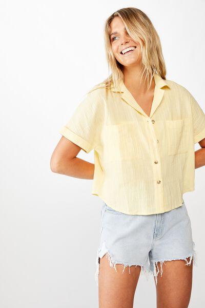 Erin Short Sleeve Shirt, DOUBLE CREAM