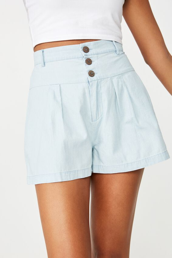 Georgie Yoke Front Short, CHAMBRAY