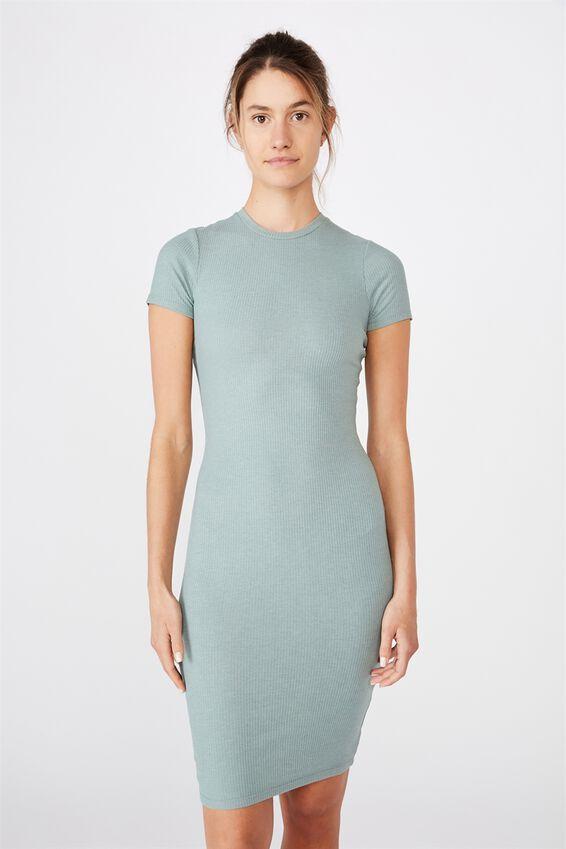Essential Short Sleeve Midi Dress, CHINOIS GREEN MARLE RIB