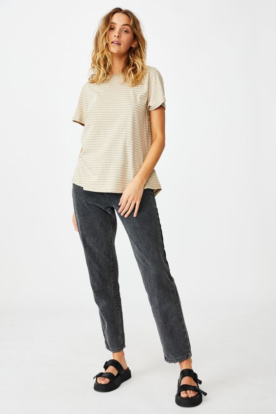 The One Crew Tee, SOPHIE STRIPE VINTAGE TAUPE/LATTE