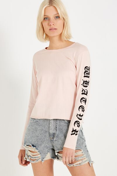 Tbar Long Sleeve Graphic Chop Tee, WHATEVER/OPAQUE PINK
