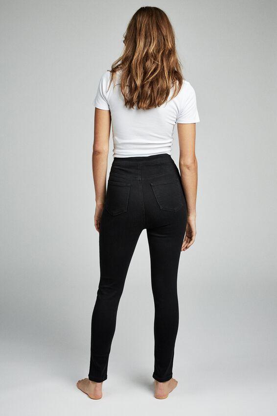 Ultra High Super Stretch Jean, BLACK