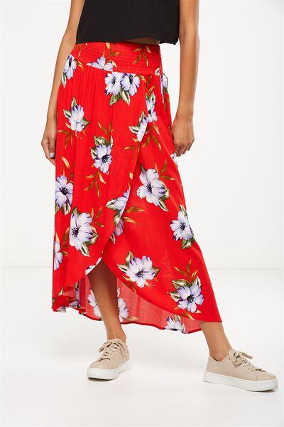 Woven Gloria Maxi Skirt, ALICIA FLORAL FLAME SCARLET