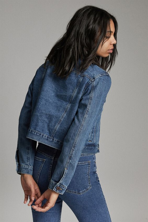 Girlfriend Denim Jacket, COOGEE BLUE