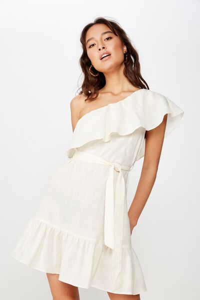 Woven Romy One Shoulder Dress, GARDENIA