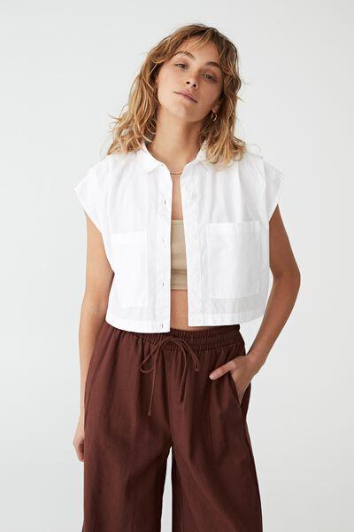 Petite Sunset Cropped Shirt, WHITE