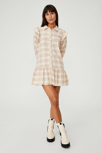 Woven Marnie Long Sleeve Babydoll Mini Shirt Dress, CHARLOTTE CHECK BARLEY