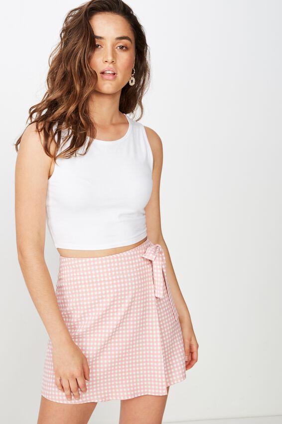 Woven Heidi Wrap Mini Skirt, ABBY GINGHAM ROSE TAN