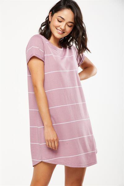 Tina Tshirt Dress 2, ORCHID HAZE LARGE WIDE STRIPE