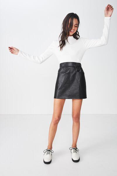 Woven Peppa Mini Skirt, BLACK