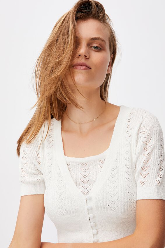 Partners In Pointelle Crop Cardi, WHITE
