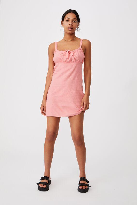 Woven Layla Tie Front Mini Dress, MUSK PINK