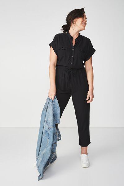 Woven Short Sleeve Boiler Jumpsuit, BLACK