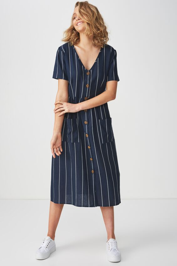 Woven Camila Button Through Midi Dress, ABBY STRIPE DARK SAPPHIRE