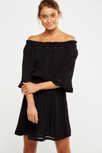 Woven Rosie Off The Shoulder Mini Dress, BLACK