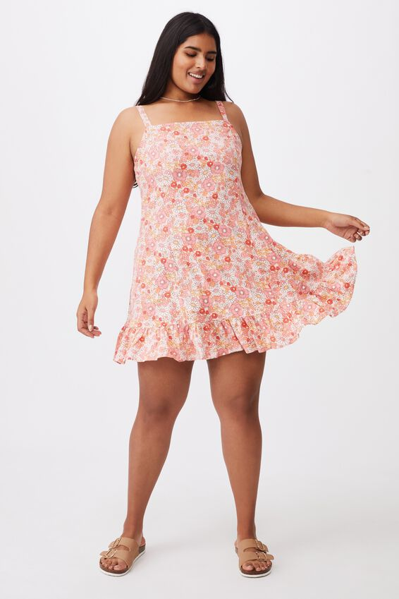 Curve Woven Tara Frill Hem Mini Dress, NIKITA FLORAL SUGAR PINK