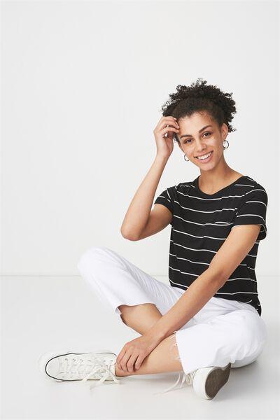 Kathleen Short Sleeve Top, ANJA STRIPE BLACK/WHITE