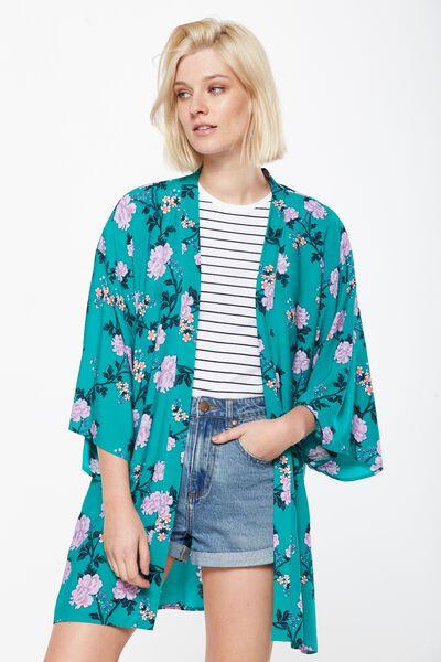 Holly Kimono, ALICIA FLORAL GOLF GREEN