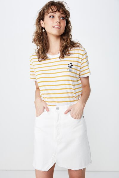 b5088ac93d Classic Mickey And Co T Shirt, LCN DIS MICKEY CHEEKY WHITE/TAWNY OLIVE  STRIPE